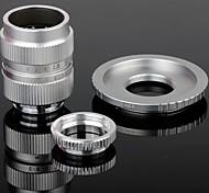 25mm F1.4 CCTV Lens + Macro Rings + C-NEX Adapter Ring Set for Sony NEX-5C NEX-7 etc - Silver