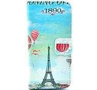 Capa de Couro Padrão Full Body Balão Torre Eiffel com Titular para iPhone 5C