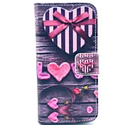 Love Heart Bow Pattern Full Body Leather Case with Card Holder for iPhone 5C