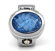 Unisex-Ei-Form Rose Quartz Abdeckung Metallic-Ring-Uhr