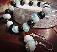 Fashion Ice Crack Ceramic Jewelry Set (Including Bracelet, Earring)