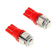 2pcs Ice Red T10 5-SMD 5050 194 168 1.3W Car LED Indicator Lights Interior Bulbs