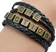 Shixin® European Superstar 18cm Women's Black Leather ID Bracelet(1 Pc)