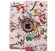 Custodia in pelle Complesso di colore del fiore del rattan di disegno girante da 360 gradi PU e stand per iPad 2/3/4