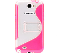 Gel TPU Stand Case + Clear Protector voor Samsung Galaxy Note 2 N7100