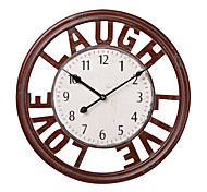 "18""H Red Wood Number Style Wall Clock"