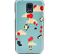 Flying Balloon Penguin Pattern Hard Case Cover for Samsung Galaxy S5 I9600
