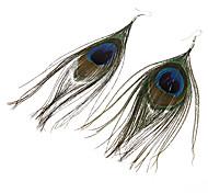 Pendientes Classic Single pluma del pavo real de bronce de la aleación de la gota (1 par)