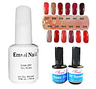 2PCS 14ml UV Top Coat Gel&Base Gel+1PCS 15ml UV Color Gel 12 Assorted Color NO.37-48