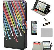 COCO ® FUN Tiro Cartão da carteira Slots PU casos de couro Estrelas com suporte para iPhone 4S incluído Film E Stylus