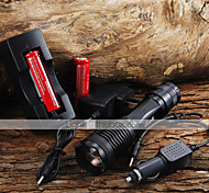 2000LM CREE XM-L T6 5 Mode Zoom LED Flashlight + 2x18650 Battery + Car Charge