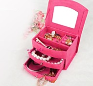 Flannelette Jewelry Boxes Cosmetic Boxes European Cute with A Mirror
