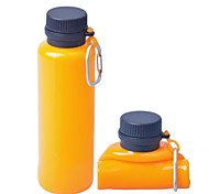 Multipurpose Squeezable Silicone Water Bottle - Orange + Black