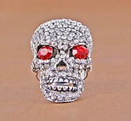 (1 Pc) Crânio Europeia Unisex completa diamante como anéis de imagem (Ouro Preto)