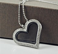 Fashion Heart Shape CZ Diamonds 316L Stainless Steel Can Put Ornamental Pendant Necklace