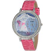 Style Romantique ronde des femmes unité centrale de cadran de quartz de bande de montre de mode analogique
