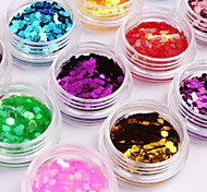 12-Color Hexagonal Glitter Tablets Nail Art Decorations