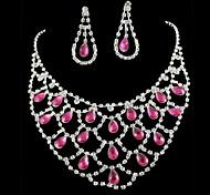 Sistemas de la joyería nupcial de la boda de dama de honor Rosa Diamantes Rhinestone Crystal Celebrity Inspired