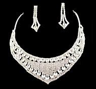 Sistemas de la joyería nupcial de la boda de dama de honor del collar cristalino de los pendientes
