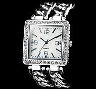Women's Diamond Square Dial Steel Band Quartz Wrist Watch (Assorted Colors)