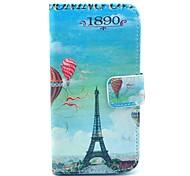 Capa de Couro Balão Torre Eiffel Padrão PU com slot para cartão e suporte para Samsung Galaxy S4 mini-I9190