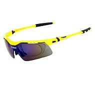 FJQXZ Outdoor Anti-UV Windproof Yellow Cycling Sunglasses(5 Pcs Lens)