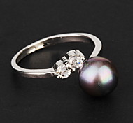 Gift For Mother European Round Shape Women's Ivory Pearl Band Rings(Black,White,Pink)(1 Pc)