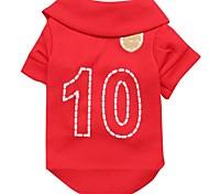 Nummer 10 Muster terylene T-Shirt für Haustiere Hunde (reb verschiedenen Größen)