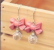 Pink Bow Droplets Drop Earrings