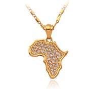 u7® nouveaux afrique carte pendentifs plaqué or 18k réelle autrichienne strass bijoux de bijoux pour les femmes ou les hommes