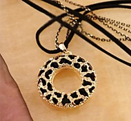 Zebra Hollow Ring Double-stranded Long Pendant Necklace