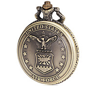 Men's Air Force Pattern Bronze Alloy Quartz Pocket Watch