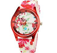 Women's Red Flower Pattern Silicone Band Quartz Wrist Watch