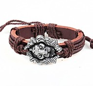 Vintage Brown Lion 24 centimetri da uomo in pelle Vintage Bracciale (marrone, nero) (1 Pc)