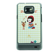 Little Red Riding Hood Girl Playing The Piano and The Bear  Dance  Leather Vein Pattern Hard Case for Samsung Galaxy S2 I9100