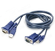 YS5 USB + VGA Male KVM Switch Cable - Black + Blue + Multicolored (1.4m)