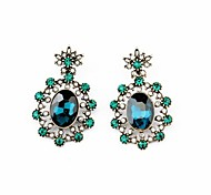 Royal Style Flower Earrings (Green) (1 Pair)