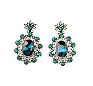Royal Style Flower Earrings (Green) (1 Pair)