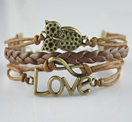 Miss ROSE®Multilayer Alloy Owl Leaves and Infinite Charms Handmade Leather Bracelets