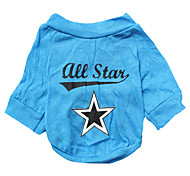 All Star Style Cotton T-shirt for Dogs (Blue, Multiple Sizes Available)