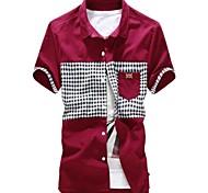 Shirt Colore manica corta bavero Arrivo Contrast da uomo