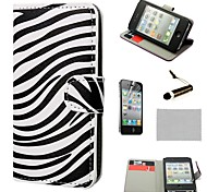 COCO FUN® Zebra-stripe Pattern Wallet PU Leather Hard Cases with Stand for iPhone 4S included Film and Stylus