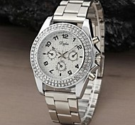 Women Bling Dial Crystal Stainless Steel Band Rhinestone Quartz Analog Dress Watch (Assorted Colors)