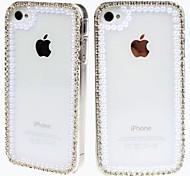Der Rahmen mit Diamant und Perl Muster Transparent Kunststoff Hard Case für iPhone 4/4S