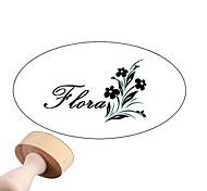 Personalizado casamento 30x40mm & Flower Pattern Negócios Oval Esculpido Boxwood Signet Name Stamp (dentro de 8 letras)