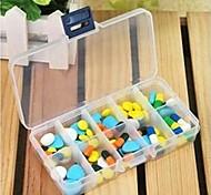Rectangle Ten  Lattice Assembled Design Plastic  Pill Case(Transparent Color x1pcs)