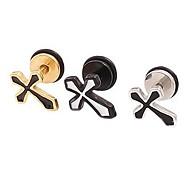 Lureme®316L Surgical Titanium Steel Drops of Oil Cross Single Stud Earrings(Random Color)