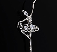 Silver Rhinestone Dancer Brooches