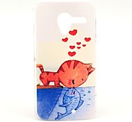 Cat and Fish Pattern Plastic Hard Case for Motorala Moto X