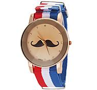 Unisex Mustache Pattern National Flag Style Fabric Band Quartz Wrist Watch (Assorted Colors)